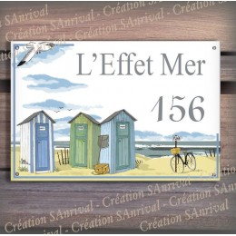 Enamel house plate Beach huts décor with your text customized