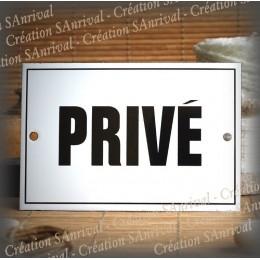 """Plaque émaillée """"Privé"""" filet simple 15x10cm"""