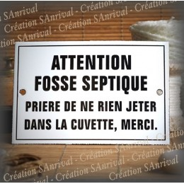 "Plaque émaillée ""Fosse septique"" filet simple"