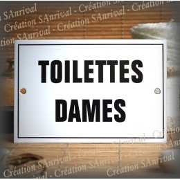 """Plaque émaillée """"Toilettes Dames"""" filet simple"""