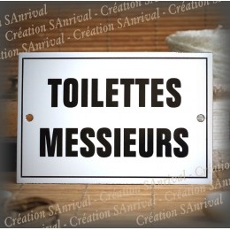 "Plaque émaillée ""Toilettes Messieurs"" filet simple"