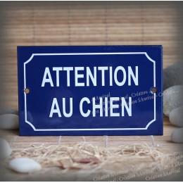 """Blue enamel plate """"Attention au chien"""""""