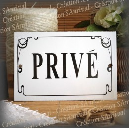 """Enamel Door plate with French text """"Privé"""" anglais net"""