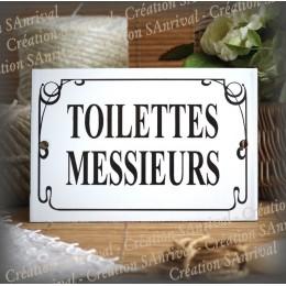 """Plaque émaillée """"Toilettes Messieurs"""" filet anglais"""
