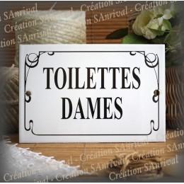 """Plaque émaillée """"Toilettes Dames"""" filet anglais"""