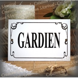"""Enamel Door plate with French text """"Gardien"""" anglais net"""