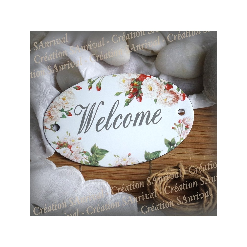 Oval enamelled Plate Welcome décor old garden Roses