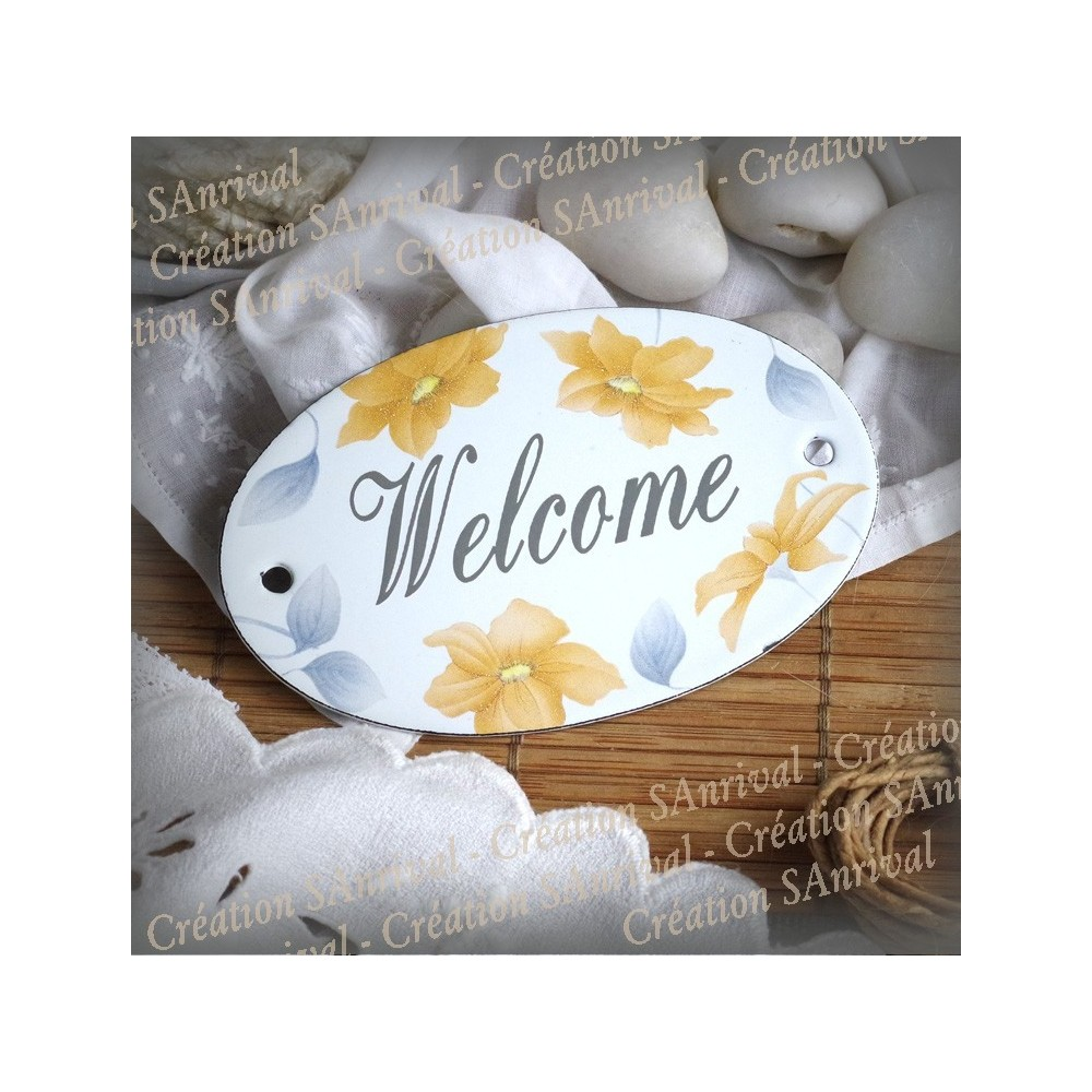 Oval enamelled Plate Welcome décor Martini