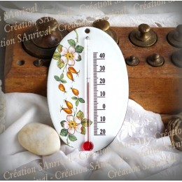 Thermomètre Ovale décor noyer