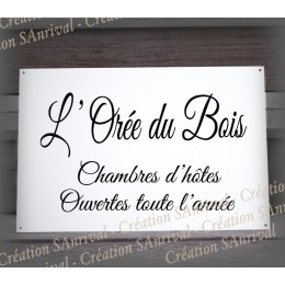 White Enamel house plate with your text customized