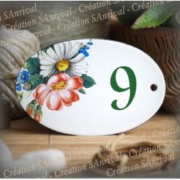 Numéro ovale émaillé décor fleurs de pres