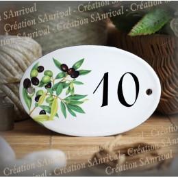 Numéro ovale émaillé décor olives