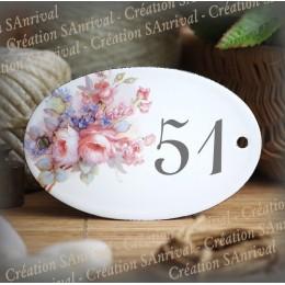 Numéro ovale émaillé décor Bouquet de Roses