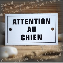 """Enamel plate """"Attention au chien"""" with border"""