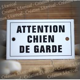 "Enamel plate ""Attention chien de garde"" with border"
