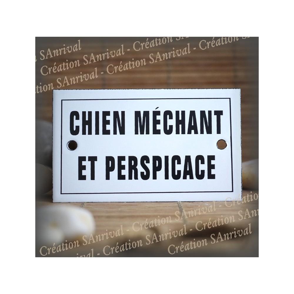 """Enamel plate """"Chien Méchant et perspicace"""" with border"""