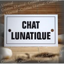 """Plaque émaillée 10x6cm """"Chat Lunatique"""" avec filet"""