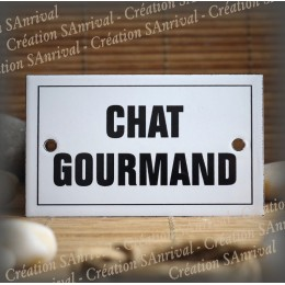 """Enamel plate """"Chat Gourmand"""" with border"""