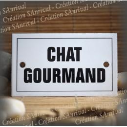 """Plaque émaillée 10x6cm """"Chat Gourmand"""" avec filet"""