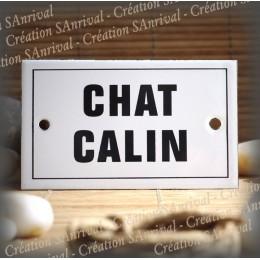 """Plaque émaillée 10x6cm """"Chat Calin"""" avec filet"""