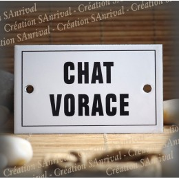 "Enamel plate ""Chat Vorace "" with border"