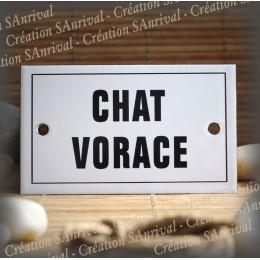"""Plaque émaillée 10x6cm """"Chat Vorace"""" avec filet"""