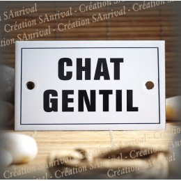 """Plaque émaillée 10x6cm """"Chat Gentil"""" avec filet"""