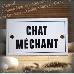 "Enamel plate ""Chat Méchant"" with border"