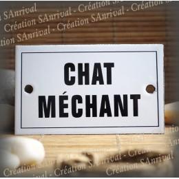 """Plaque émaillée 10x6cm """"Chat Méchant"""" avec filet"""