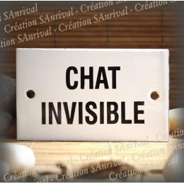 """Plaque émaillée 10x6cm """"Chat Invisible"""""""