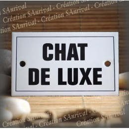 "Enamel plate ""Chat de Luxe"" with border"