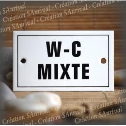 """Plaque émaillée 10x6cm """"W.C. Mixte"""" avec filet"""