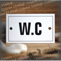 "Enamel plate ""W.C"" with border"