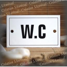 """Plaque émaillée 10x6cm """"W.C"""" avec filet"""