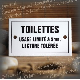 "Enamel plate  ""Toilettes usage limité à 5mn "" with border"