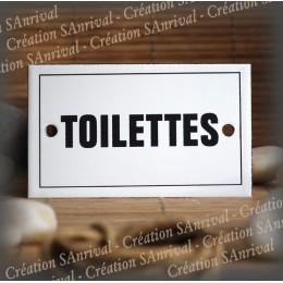 """Plaque émaillée 10x6cm """"Toilettes"""" avec filet"""