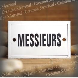 "Enamel plate ""Messieurs"" with border"
