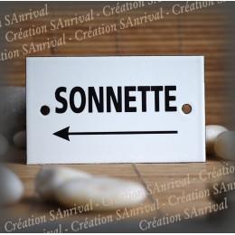 "Enamel plate ""Sonnette + flèche gauche"""