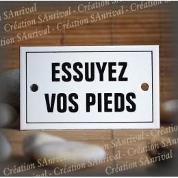 "Enamel plate ""Essuyez vos pieds"" with border"