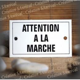 """Enamel plate """"Attention à la marche"""" with border"""