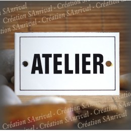 "Enamel plate ""Atelier"" with border"