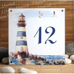 Street number enamelled decor Lighthouse