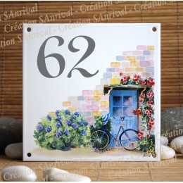 Street Number enamelled House Hydrangea decoration