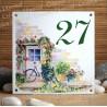 Numéro de rue émaillé décor Maison fleurie 15x15cm