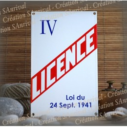 """Plaque émaillée """"Licence IV"""""""