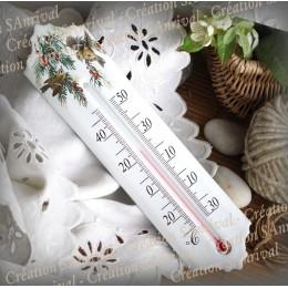 Thermomètre émail décor Roitelet