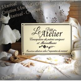 """Enamel sign """"Le Petit Atelier aux créations merveilleuses"""""""