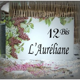 """Small white personalized enamel plate """"Lilac"""" decoration"""