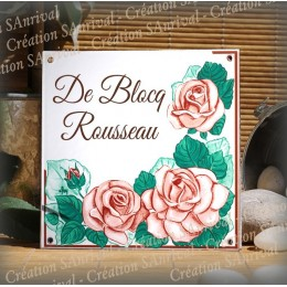 """Home plate enamelled with your text Roses """"art nouveau"""" decoration. Great vibes characters"""