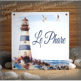 Home plate enamelled Lighthouse decoration